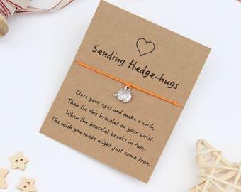 Hedgehog Wish Bracelet, Friendship Wish Bracelet, Hedgehog Bracelet, Hedgehog Jewellery, Hedgehog Charm Bracelet, Hedgehog Gift