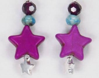 Purple Star Earrings, Purple Star Dangles, Bright Star Earrings, Fun Star Dangles, Unique Handmade Earrings, Turquoise and Purple Earrings