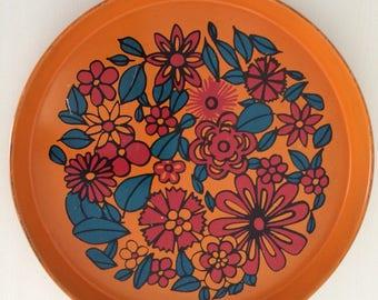 Vintage Tin Orange Floral Serving Tray