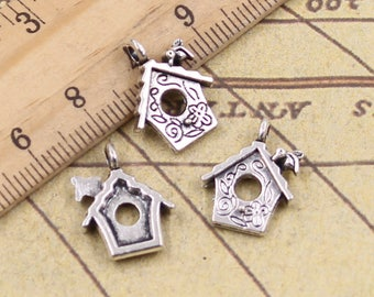20 PCS 17*15 MM Cabin Charms Antique Silver Charm Pendants ,Set Of 20 PCS Y10930
