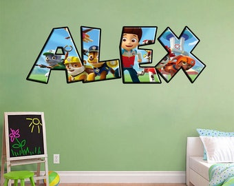 Paw Patrol Personalized Any Name Decal WALL STICKER Home Decor Art Mural J249