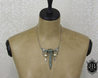 Necklace made of bone silver green