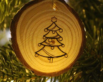 Gift Tag | Wood Burned Ornament | Christmas Tree
