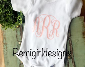 Monogram bodysuit, monogram baby girl, baby shower gift, custom baby outfit, script baby monogram, baby photoshoot, coming home outfit