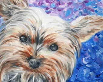 Yorkshire Terrier Giclée Art Print of Oil Painting - 8 x 10""