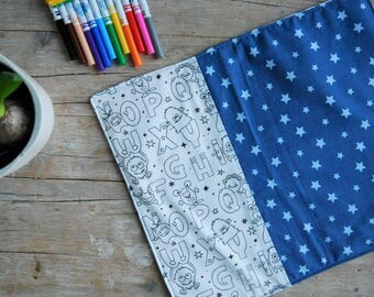 Coloring Mat | Markers included | Breakfast Placemat | Entertainment Game | Game Pastime | Baby Gift Idea