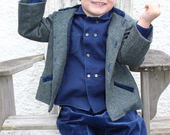 Vintage Art Deco Sz 3 Outfit, Vintage Boys Outfit, Boys Art Deco, Size 3, Handmade Vintage Boys Clothes, Velvet & Wool Outfit, 4 Piece