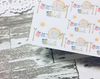 Hanging Laundry Rainbow Unicorn Sticker | Laundry Sticker | Unicorn Planner Sticker | Kikki Unicorn Serie