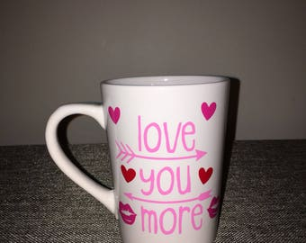 Love You More With Hearts and Kisses Coffee Mug