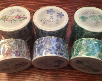 Chamil Garden Blue, Green, or Multicolor Summer Flowers Washi Masking Tape