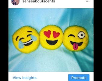 Emoji felted soap
