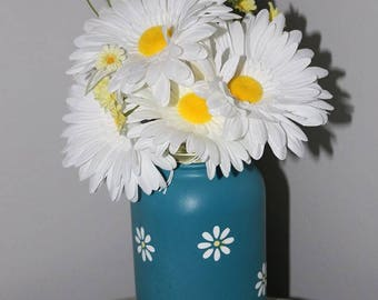 Hand painted Daisy jar with flowers
