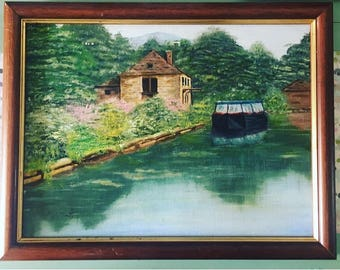 Vintage painting Country canal barge scene beautiful