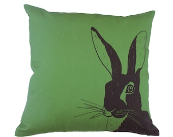 Green, hare print cushion cover 40x40cm