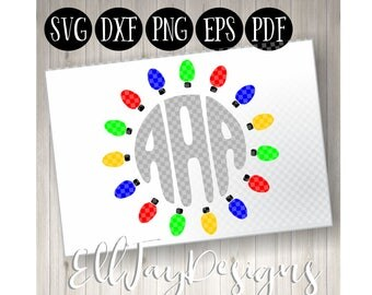 Christmas Light monogram frame svg, Christmas svg, Christmas Light svg, Christmas, SVG, Monogram Frame, Holiday cut file, Christmas Bundle
