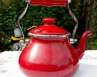 Vintage Red Enamelware Tea Pot Kettle