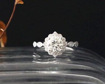 Vintage Brilliant Ring C&C 1.0ct Round Forever Classic Moissanite Engagement Ring Art Deco Ring Diamond Halo Ring 14K White Gold Bridal Ring