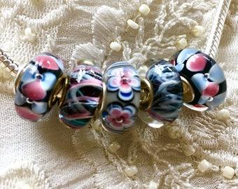 Murano Glass Beads, 5 Lampwork Glass Beads Set, Large Hole Beads, Euro Charm Bracelet Beads