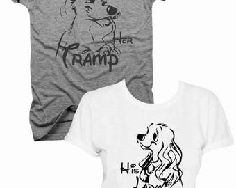 2-Pack, Her tramp, his lady, his and hers, mr and mrs, couples, couples shirts, land and the tramp, gift set, mom and dad,  (B016)