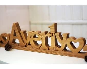 Wooden name puzzle etsy negle Choice Image
