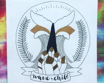 Wave Child Gold Leaf Print