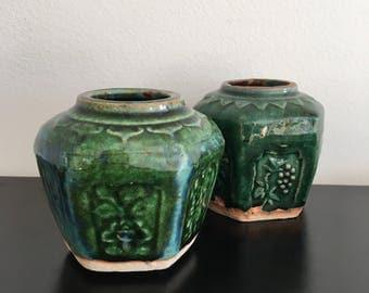 Vintage,Antique Chinese Ginger Jars,Green Glazed Chinese Stoneware,Oriental Vase,Ginger Jar,Green,Chinese Pottery,Stoneware,Oriental Jar,Pot