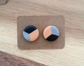 Small Orange and Grey Pattern Studs