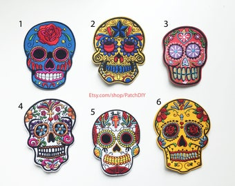 1X Dia de Los Muertos Skull PATCH Muerte Skull COCO pink yellow black red blue green Iron on embroidered  applique Mexico