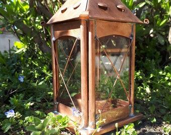 Copper Lantern. Home Decor. Candle holder. Rustic wedding. Thanksgiving. Vintage indoor outdoor lantern.  599 medium square