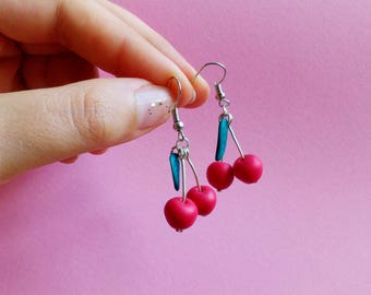 Cherry earrings polymer clay miniature food jewelry earrings with summer food leaf
