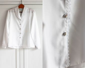 1970s White Shirt Blouse Vintage Ethereal Elegant Retro Women Top Collar Loose Fit Formal Look / Large size