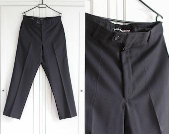 Yves Saint Laurent YSL 1990s Pants High Waist Black Trousers Elegant Wool Vintage Retro Formal Simple Smart Women Minimalist / Large Size