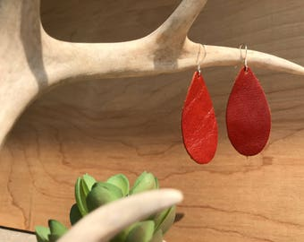 Burnt orange leather teardrop earrings