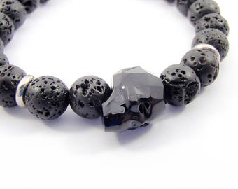 Black men bracelet skull swarovski