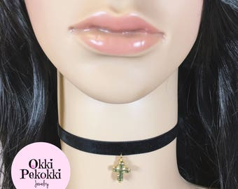 Goldtone Cross on Velvet Ribbon Choker Necklace.