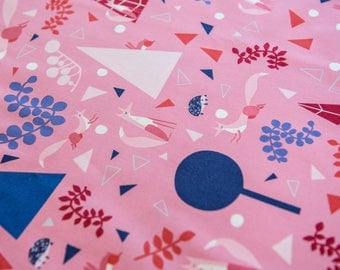 Lizzy House Outfoxed Foxy Forest in Pink sold by the half meter