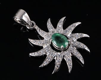 Handmade, 925 Sterling Silver, Jewelry, Indian Jewelry, Emerald Pendant, Zircon jewelry, Gift For Her, Gift For Wife, Jewelry