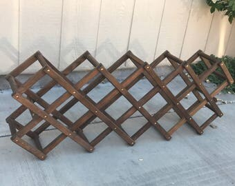 Large wine rack, vintage wine rack, wood wine rack, 18 bottle wine rack, storage rack collapsible wine rack