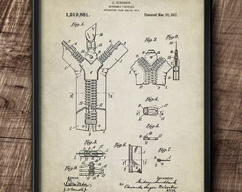 Zipper Patent · Instant Download · 1917 · Vintage · Digital File #144