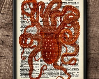 Octopussy · Instant Download · Dictionary · Vintage · Sea · Printable · Digital File #149