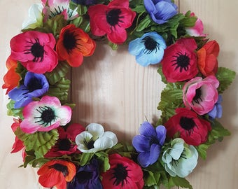 SMALL SUMMER ANEMONES, wreath, floral, flowers, decor, door decor, plaque, gift, decoration