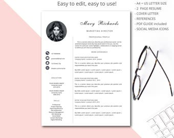 Resume template, CV template, Professional resume template, Curriculum vitae, Teacher resume template for Word and Pages, Marketing Resume