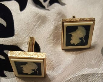 Vintage Cameo Inlay Cuff links