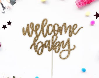 Welcome Baby Cake Topper for Baby Shower, Gender Reveal Party, Birthday Party - Oh Baby Gold Glitter Cupcake and Cake Topper