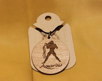 Handmade Laser Engraved Wooden Aquarius Necklace