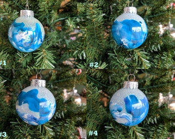Hand Crafted Christmas Ornament (Blue and White)