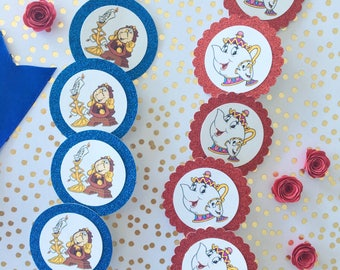 Beauty and the Beast CupCake Toppers. Cupcake Toppers. beauty and the beast party. beauty and the beast decor