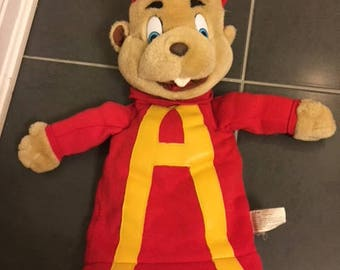Vintage 1993 Alvin and the Chipmunks hand puppet rare