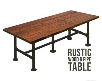 Conference Table Rustic Wood U0026 Pipe Table, Industrial Dining Table Urban Wood  Table Rustic Wood