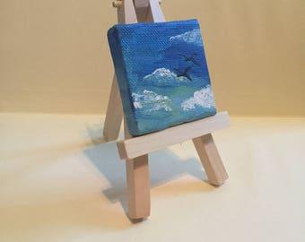 """Mini Sky/Birds Painting, 2x2"""", acrylic on canvas"""